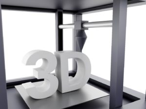 white 3D printed blocks that say 3D