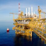An offshore oil and gas platform where many components are made using CNC machining and plastic injection molding.
